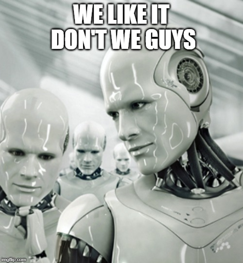 Robots Meme | WE LIKE IT DON'T WE GUYS | image tagged in memes,robots | made w/ Imgflip meme maker