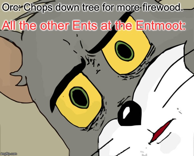 Chop chop. | Orc: Chops down tree for more firewood. All the other Ents at the Entmoot: | image tagged in memes,unsettled tom,lord of the rings | made w/ Imgflip meme maker