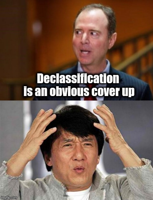 To declassify or not to declassify , make up your mind | Declassification is an obvious cover up | image tagged in adam schiff,shapeshifting lizard,liberal hypocrisy,but that's not my fault,russian collusion,guilty | made w/ Imgflip meme maker