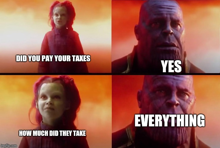 thanos what did it cost | DID YOU PAY YOUR TAXES YES EVERYTHING HOW MUCH DID THEY TAKE | image tagged in thanos what did it cost | made w/ Imgflip meme maker