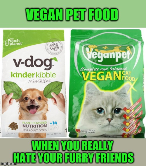 Dogs And Cats Are Natural Meat Eaters. Don't Push Your Beliefs On Them. | VEGAN PET FOOD WHEN YOU REALLY HATE YOUR FURRY FRIENDS | image tagged in dog food,cat food,vegan | made w/ Imgflip meme maker