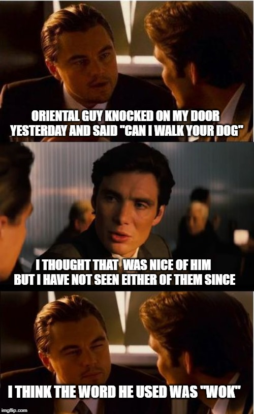 "walking the dog | ORIENTAL GUY KNOCKED ON MY DOOR YESTERDAY AND SAID ""CAN I WALK YOUR DOG"" I THOUGHT THAT  WAS NICE OF HIM BUT I HAVE NOT SEEN EITHER OF THEM  