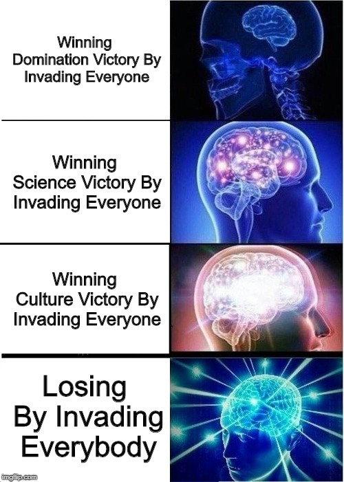 It's An Internal Genghis Thing, Civ Meme #13 |  Winning Domination Victory By Invading Everyone; Winning Science Victory By Invading Everyone; Winning Culture Victory By Invading Everyone; Losing By Invading Everybody | image tagged in memes,expanding brain,civilization | made w/ Imgflip meme maker