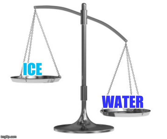 scales of justice | ICE WATER | image tagged in scales of justice | made w/ Imgflip meme maker