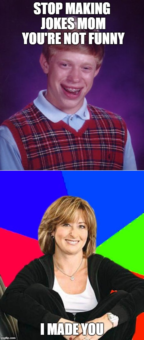 I made you | STOP MAKING JOKES MOM YOU'RE NOT FUNNY I MADE YOU | image tagged in memes,sheltering suburban mom,bad luck brian,funny,jokes,mom | made w/ Imgflip meme maker