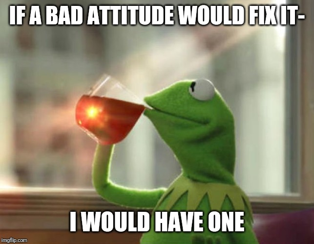 But Thats None Of My Business (Neutral) | IF A BAD ATTITUDE WOULD FIX IT- I WOULD HAVE ONE | image tagged in memes,but thats none of my business neutral | made w/ Imgflip meme maker