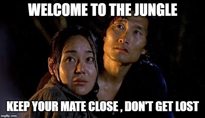 Lost in the Jungle | WELCOME TO THE JUNGLE KEEP YOUR MATE CLOSE , DON'T GET LOST | image tagged in lost | made w/ Imgflip meme maker