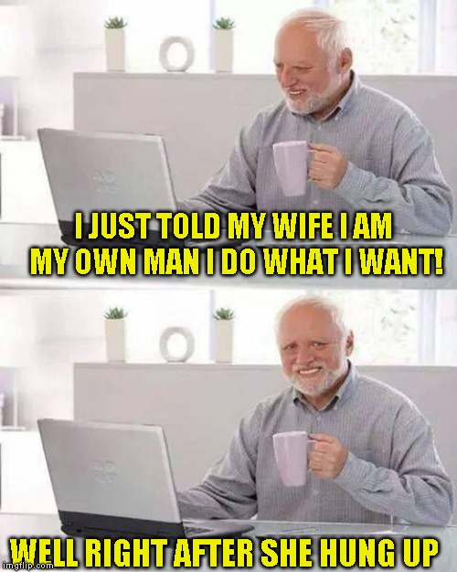 And then I took the trash out like she told me | I JUST TOLD MY WIFE I AM MY OWN MAN I DO WHAT I WANT! WELL RIGHT AFTER SHE HUNG UP | image tagged in memes,hide the pain harold | made w/ Imgflip meme maker