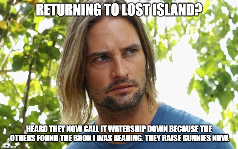 Lost meets Watership down | RETURNING TO LOST ISLAND? HEARD THEY NOW CALL IT WATERSHIP DOWN BECAUSE THE OTHERS FOUND THE BOOK I WAS READING. THEY RAISE BUNNIES NOW. | image tagged in lost,old books | made w/ Imgflip meme maker