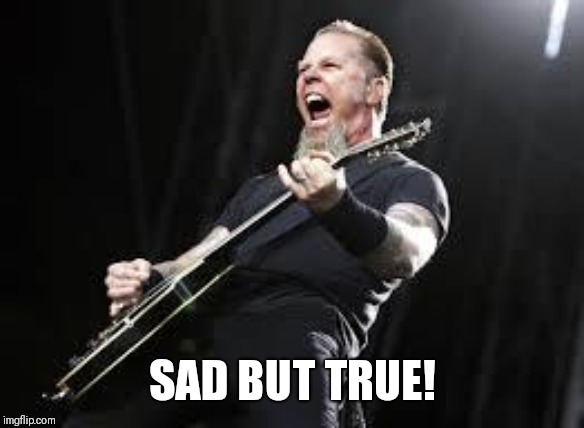 Metallica | SAD BUT TRUE! | image tagged in metallica | made w/ Imgflip meme maker