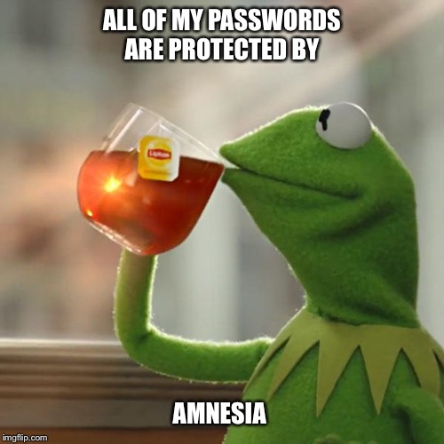 But Thats None Of My Business | ALL OF MY PASSWORDS ARE PROTECTED BY AMNESIA | image tagged in memes,but thats none of my business,kermit the frog,amnesia,passwords,funny | made w/ Imgflip meme maker
