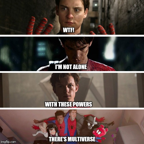 SpidermanFFH | WTF! I'M NOT ALONE WITH THESE POWERS THERE'S MULTIVERSE | image tagged in spiderman,marvel,mcu,spiderman multiverse | made w/ Imgflip meme maker