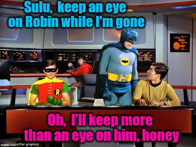 I turned it off quickly after this part! lol | Sulu,  keep an eye on Robin while I'm gone Oh,  I'll keep more than an eye on him, honey | image tagged in batman star trek | made w/ Imgflip meme maker