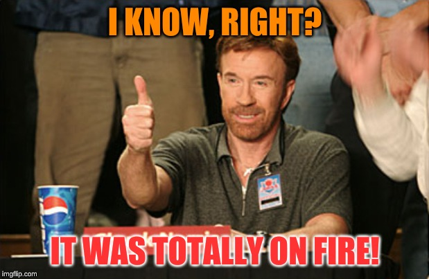 Chuck Norris Approves Meme | I KNOW, RIGHT? IT WAS TOTALLY ON FIRE! | image tagged in memes,chuck norris approves,chuck norris | made w/ Imgflip meme maker