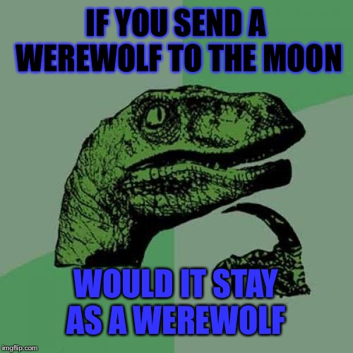 This is a questioning question | IF YOU SEND A WEREWOLF TO THE MOON WOULD IT STAY AS A WEREWOLF | image tagged in memes,philosoraptor,werewolf | made w/ Imgflip meme maker