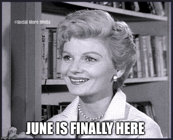 June Cleaver |  JUNE IS FINALLY HERE | image tagged in june cleaver,june,month,classic tv,leave it to beaver,social more media | made w/ Imgflip meme maker