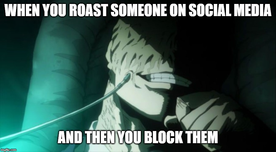 Everything is proceeding perfectly | WHEN YOU ROAST SOMEONE ON SOCIAL MEDIA AND THEN YOU BLOCK THEM | image tagged in my hero academia,social media,twitter | made w/ Imgflip meme maker
