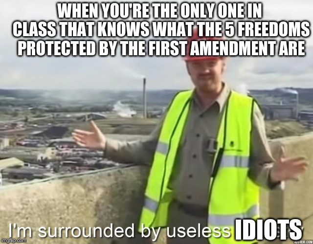 I'm surrounded by useless | IDIOTS WHEN YOU'RE THE ONLY ONE IN CLASS THAT KNOWS WHAT THE 5 FREEDOMS PROTECTED BY THE FIRST AMENDMENT ARE | image tagged in i'm surrounded by useless,memes,first amendment,idiots | made w/ Imgflip meme maker