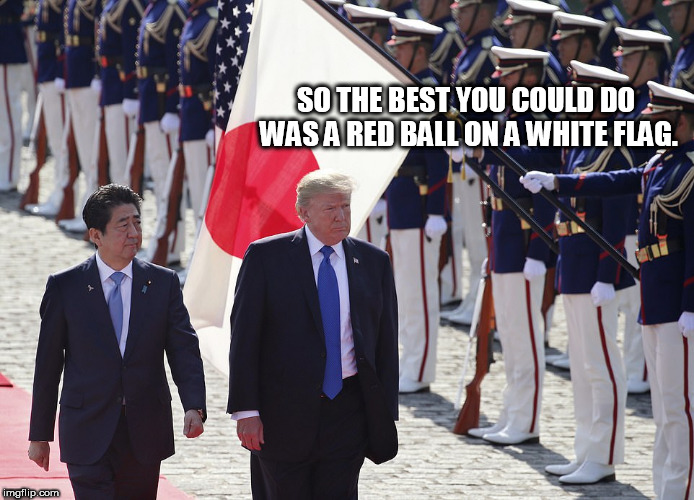 japan | SO THE BEST YOU COULD DO WAS A RED BALL ON A WHITE FLAG. | image tagged in japan | made w/ Imgflip meme maker