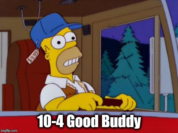 Homer Simpson Trucker | 10-4 Good Buddy | image tagged in homer simpson trucker | made w/ Imgflip meme maker