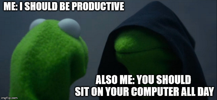 Evil Kermit | ME: I SHOULD BE PRODUCTIVE ALSO ME: YOU SHOULD SIT ON YOUR COMPUTER ALL DAY | image tagged in memes,evil kermit | made w/ Imgflip meme maker