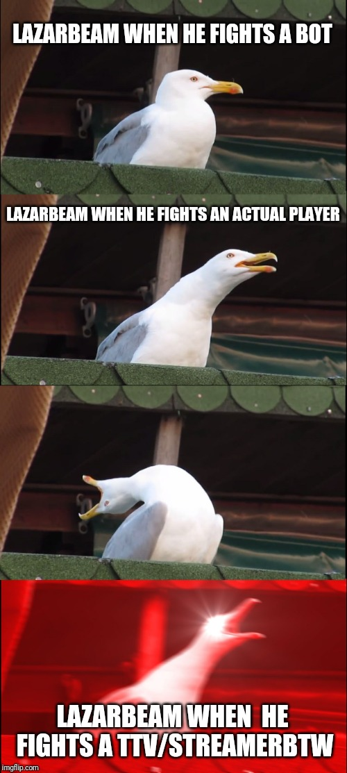 Inhaling Seagull | LAZARBEAM WHEN HE FIGHTS A BOT LAZARBEAM WHEN HE FIGHTS AN ACTUAL PLAYER LAZARBEAM WHEN  HE FIGHTS A TTV/STREAMERBTW | image tagged in memes,inhaling seagull | made w/ Imgflip meme maker