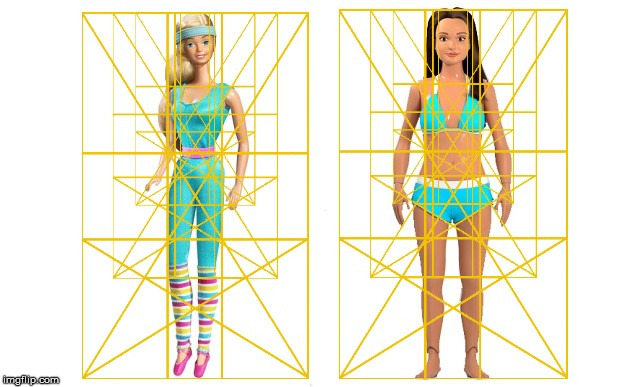 Barbie and Lammily doll comparison with the Golden Ratio. | image tagged in the golden ratio,barbie,lammily,doll,body proportions,beauty | made w/ Imgflip meme maker