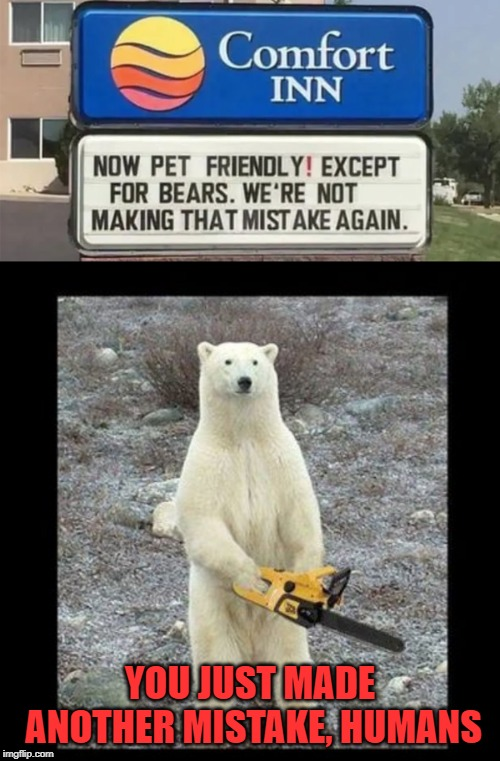 Chainsaw bear refuses to take 'no' for an answer |  YOU JUST MADE ANOTHER MISTAKE, HUMANS | image tagged in memes,chainsaw bear,bears,bear,mistake | made w/ Imgflip meme maker