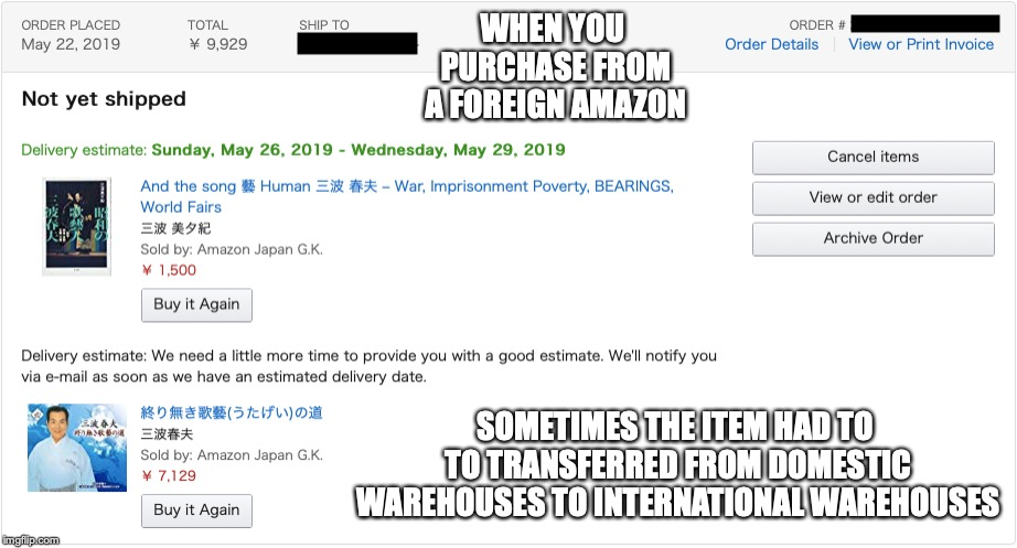 No Delivery Estimate | WHEN YOU PURCHASE FROM A FOREIGN AMAZON SOMETIMES THE ITEM HAD TO TO TRANSFERRED FROM DOMESTIC WAREHOUSES TO INTERNATIONAL WAREHOUSES | image tagged in amazon,memes | made w/ Imgflip meme maker