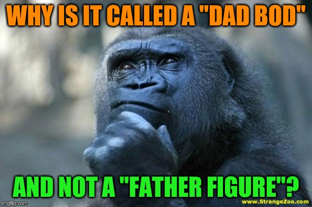 "Monkeys have too little to occupy their minds with | WHY IS IT CALLED A ""DAD BOD"" AND NOT A ""FATHER FIGURE""? 