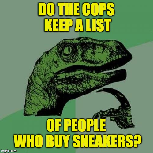 Philosoraptor Meme | DO THE COPS KEEP A LIST OF PEOPLE WHO BUY SNEAKERS? | image tagged in memes,philosoraptor | made w/ Imgflip meme maker