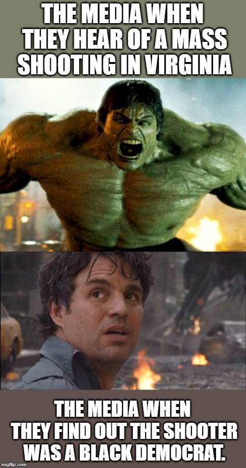 THE MEDIA WHEN THEY HEAR OF A MASS SHOOTING IN VIRGINIA THE MEDIA WHEN THEY FIND OUT THE SHOOTER WAS A BLACK DEMOCRAT. | image tagged in hulk,bruce banner | made w/ Imgflip meme maker