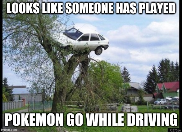 Secure Parking | LOOKS LIKE SOMEONE HAS PLAYED POKEMON GO WHILE DRIVING | image tagged in memes,secure parking | made w/ Imgflip meme maker