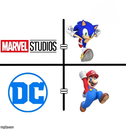 Comparing good and bad | = = | image tagged in memes,blank starter pack,sonic the hedgehog,super mario,marvel,dc | made w/ Imgflip meme maker