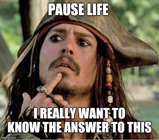 Gives Pause Pirate | PAUSE LIFE I REALLY WANT TO KNOW THE ANSWER TO THIS | image tagged in gives pause pirate | made w/ Imgflip meme maker