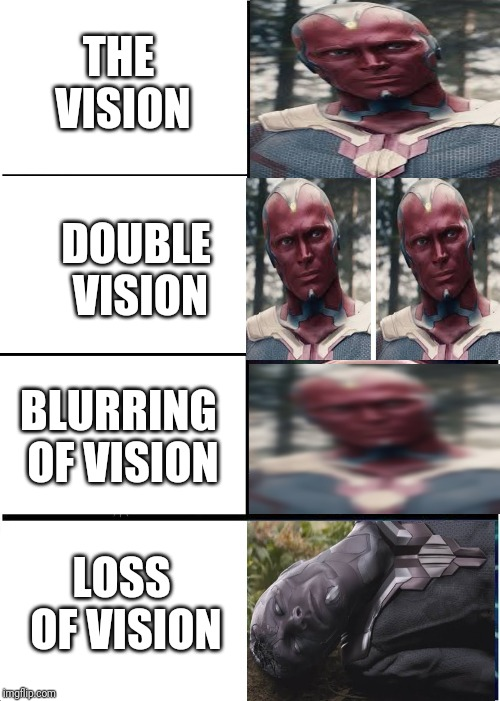 Expanding Brain Meme | THE VISION DOUBLE VISION BLURRING OF VISION LOSS OF VISION | image tagged in memes,expanding brain | made w/ Imgflip meme maker