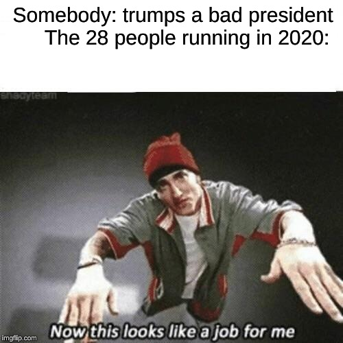 Now this looks like a job for me | Somebody: trumps a bad president     The 28 people running in 2020: | image tagged in now this looks like a job for me | made w/ Imgflip meme maker