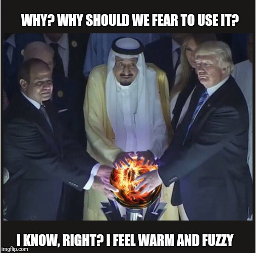 This is way better than a Ouija board | WHY? WHY SHOULD WE FEAR TO USE IT? I KNOW, RIGHT? I FEEL WARM AND FUZZY | image tagged in trump,lotr,politics,eye of sauron | made w/ Imgflip meme maker