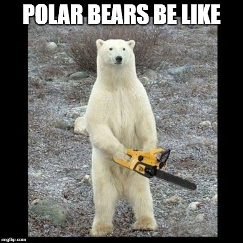 Chainsaw Bear | POLAR BEARS BE LIKE | image tagged in memes,chainsaw bear | made w/ Imgflip meme maker