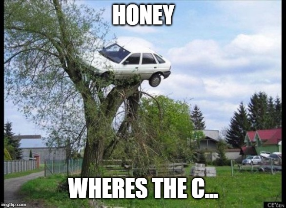 Secure Parking | HONEY WHERES THE C... | image tagged in memes,secure parking | made w/ Imgflip meme maker