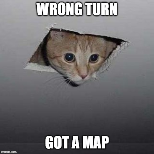 Ceiling Cat | WRONG TURN GOT A MAP | image tagged in memes,ceiling cat | made w/ Imgflip meme maker