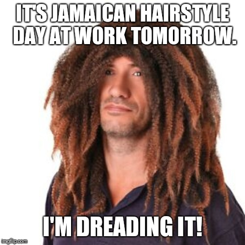 Dreadlock holiday | IT'S JAMAICAN HAIRSTYLE DAY AT WORK TOMORROW. I'M DREADING IT! | image tagged in funny dreadlocks,bad hair day | made w/ Imgflip meme maker