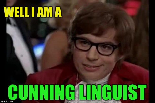 Austin Powers | WELL I AM A CUNNING LINGUIST | image tagged in austin powers | made w/ Imgflip meme maker