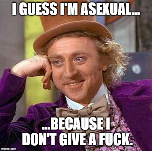 Creepy Condescending Wonka Meme | I GUESS I'M ASEXUAL... ...BECAUSE I DON'T GIVE A F**K. | image tagged in memes,creepy condescending wonka | made w/ Imgflip meme maker