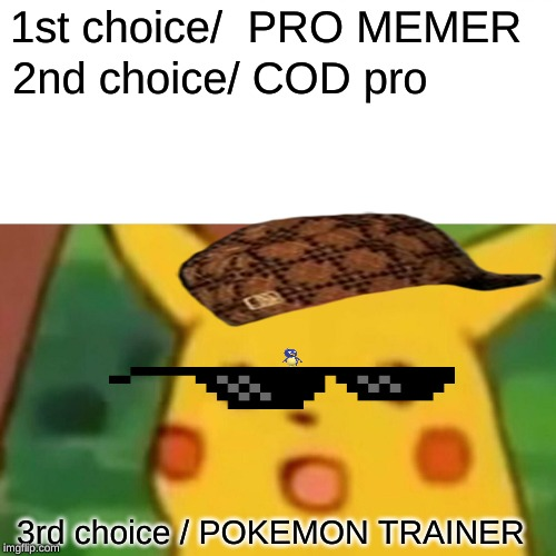 Surprised Pikachu Meme | 1st choice/  PRO MEMER 2nd choice/ COD pro 3rd choice / POKEMON TRAINER | image tagged in memes,surprised pikachu | made w/ Imgflip meme maker