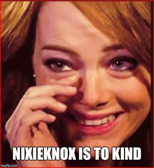 happy tears | NIXIEKNOX IS TO KIND | image tagged in happy tears | made w/ Imgflip meme maker