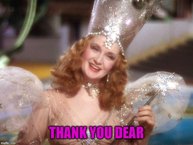 good witch wizard of oz neoliberalism meme | THANK YOU DEAR | image tagged in good witch wizard of oz neoliberalism meme | made w/ Imgflip meme maker