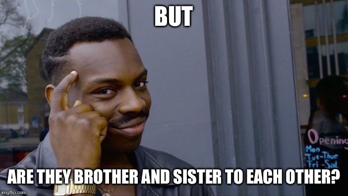 Roll Safe Think About It Meme | BUT ARE THEY BROTHER AND SISTER TO EACH OTHER? | image tagged in memes,roll safe think about it | made w/ Imgflip meme maker