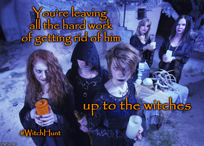 #WitchHunt | You're leaving all the hard work of getting rid of him up to the witches #WitchHunt | image tagged in witch hunt,witchhunt,atthewitchestradeshow,trump | made w/ Imgflip meme maker