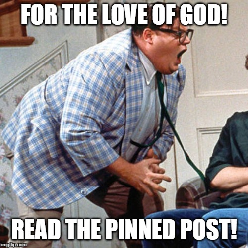 Chris Farley For the love of god | FOR THE LOVE OF GOD! READ THE PINNED POST! | image tagged in chris farley for the love of god | made w/ Imgflip meme maker